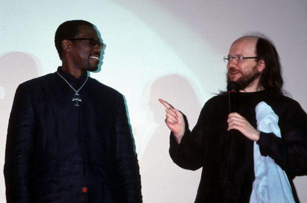 Wesley Snipes y Santiago Segura en la presentación de 'Blade II' en Madrid, en abril de 2002.