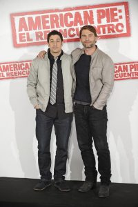 Jason Biggs y Seann Williams Scott presentando en Madrid la película American Pie: el reencuentro en abril de 2012.