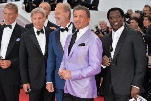 Los actores Dolph Lundgren, Harrison Ford, Kelsey Grammer, Sylvester Stallone, Wesley Snipes en el Festival de Cannes, donde presentaron 'Los mercenarios 3' (2014).