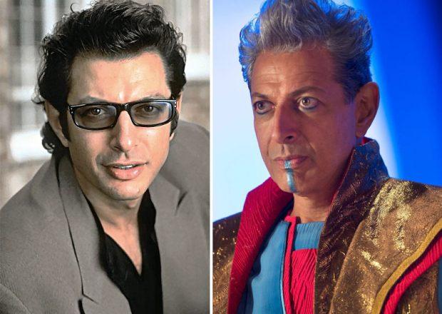 Jeff Goldblum en su papel de Ian Malcom en 'Parque Jurásico' (izda.) y de el Gran Maestro en 'Thor: Rganarok' (dcha.)