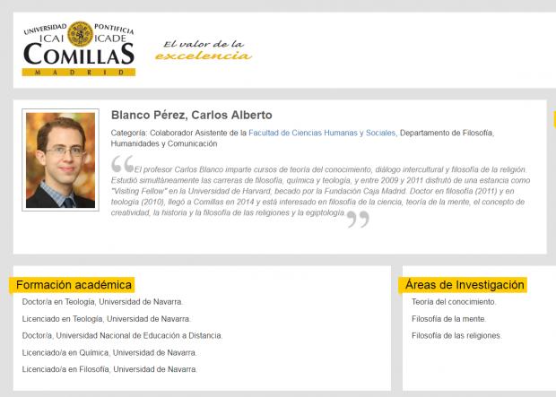 Perfil del profesor Carlos Blanco en la Universidad Pontificia de Comillas.
