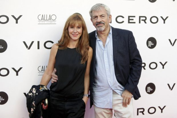 El presentador Carlos Sobera con su mujer Patricia Santamarina en septiembre de 2016.