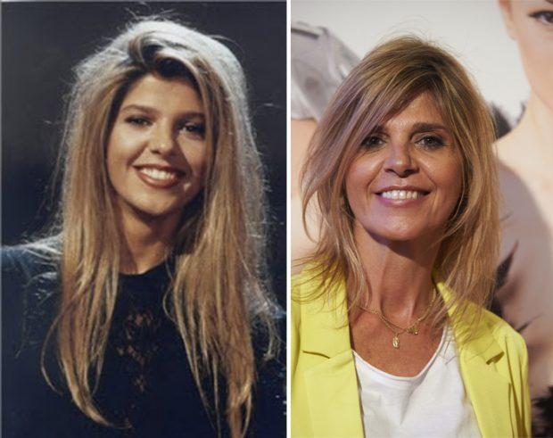 La presentadora Arantxa de Benito en los años 90 (izda) y en abril de 2017 (dcha).