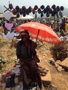 Vendedora de calabazas en el mercado