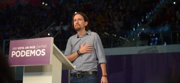 El político Pablo Iglesias durante un acto electoral de Podemos en Madrid con motivo de las elecciones del 20D. 13/12/2015 Madrid