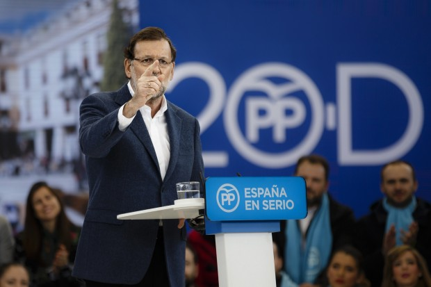 Spain's Prime Minister and right wing Popular Party candidate Mariano Rajoy gives a speech during a campaign rally at Las Rozas bullring, near Madrid, Spain, Sunday, Dec. 13, 2015 .