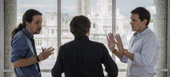 (EFE) Pablo Iglesias y Albert Rivera discuten en su cara a cara en el programa Salvados.