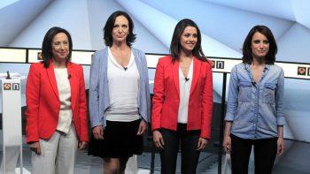 Debate a 4: Margarita Robles (PSOE), Carolina Bescansa (Unidos Podemos), Inés Arrimadas (Ciudadanos) y Andrea Levy (PP) (Víctor Lerena / EFE)