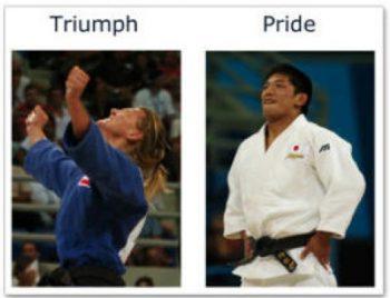 Ejemplo ilustrativo de la diferencia corporal entre triunfo y orgullo. Fotografía perteneciente a la investigación de Matsumoto