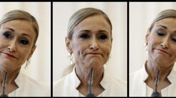 Fotografía de Cristina Cifuentes en el momento de su dimisión. EFE