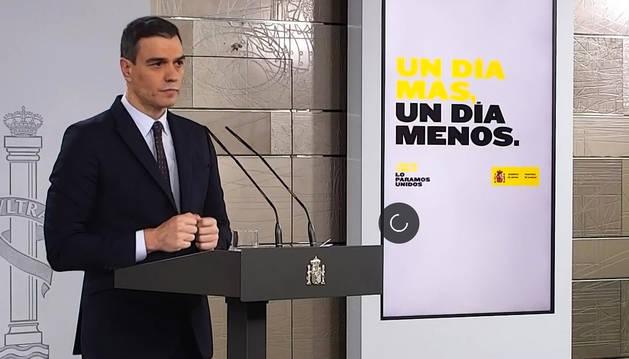 Pedro Sánchez durante la rueda de prensa. EFE
