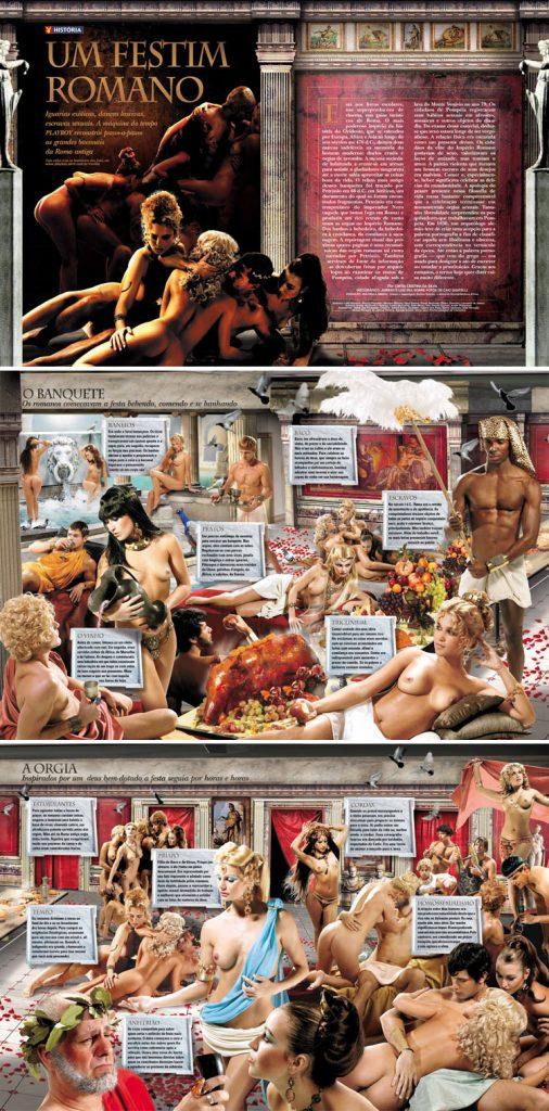 (Orgías romanas. Revista Playboy. Luiz Iria, Alexandre Juban, Caio Guatelli)
