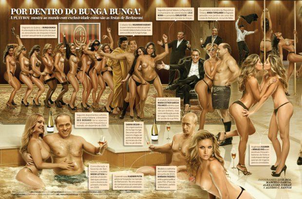 (Las fiestas de Berlusconi. Revista Playboy. Luiz Iria, Marcelo García, Alexandre Jubran y Aluísio C. Santos)