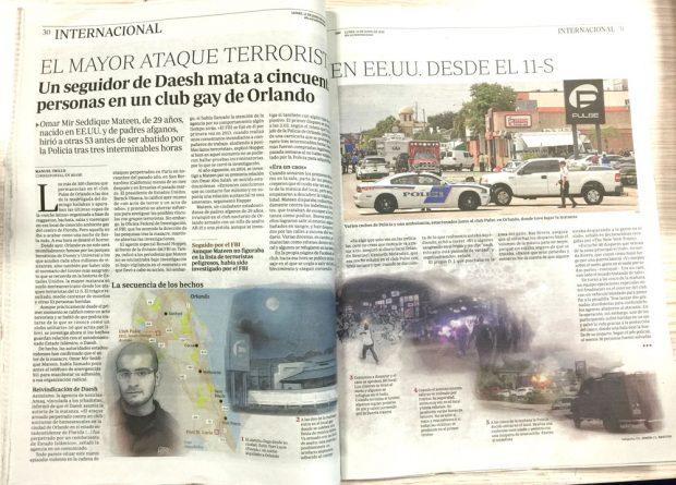 (Doble página con la reconstrucción del atentado de Orlando. CG Simón, L.Bretón. ABC)