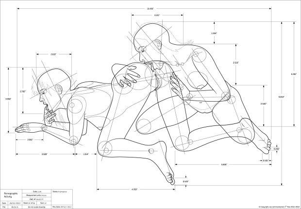 (Imagen pornográfica con estilo de dibujo técnico. MA communication, Ricardo Calabaça)