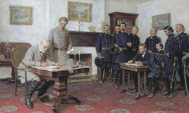 Lee se rinde a Grant en Appomattox