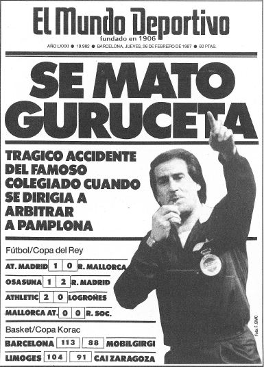 Portada del diario barcelonés 'EL Mundo Deportivo' anunciando la muerte de Guruceta (MD.COM).