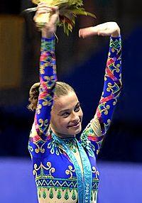 Barsukova, tras ganar el oro en Sydney 2000 (WIKIPEDIA).