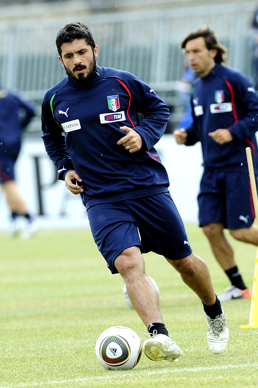Gattuso, entrenando con la selección italiana antes del Mundial de 2010. De fondo, Pirlo (GTRES).