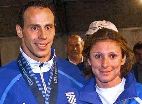Kenteris y Thanou, tras el Mundial de 2001 (EFE).