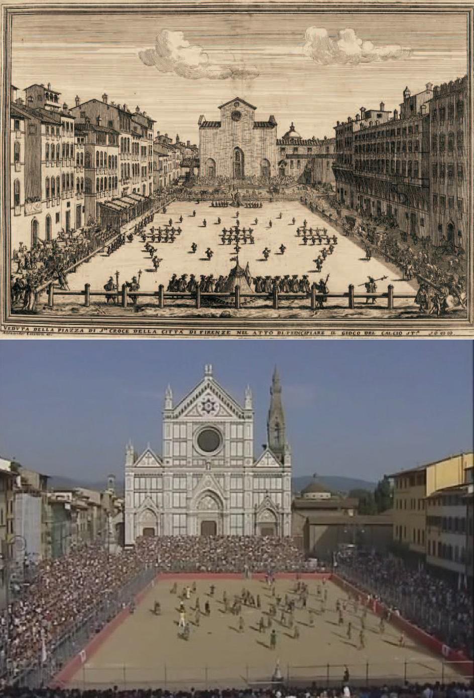 La Piazza Santa Croce, en el XVI y ahora (WIKIPEDIA y YOUTUBE).