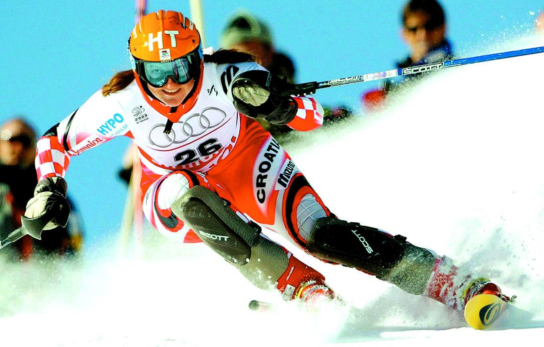 Kostelic, en Saint Moritz, Suiza, en 2003 (Archivo 20minutos).