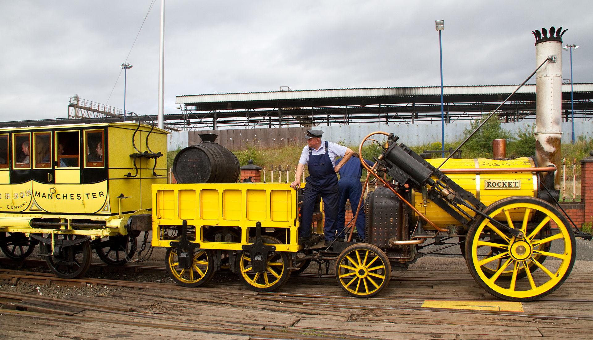 Réplica de 'The Rocket', el tren que dio sus colores a Peñarol (WIKIPEDIA).