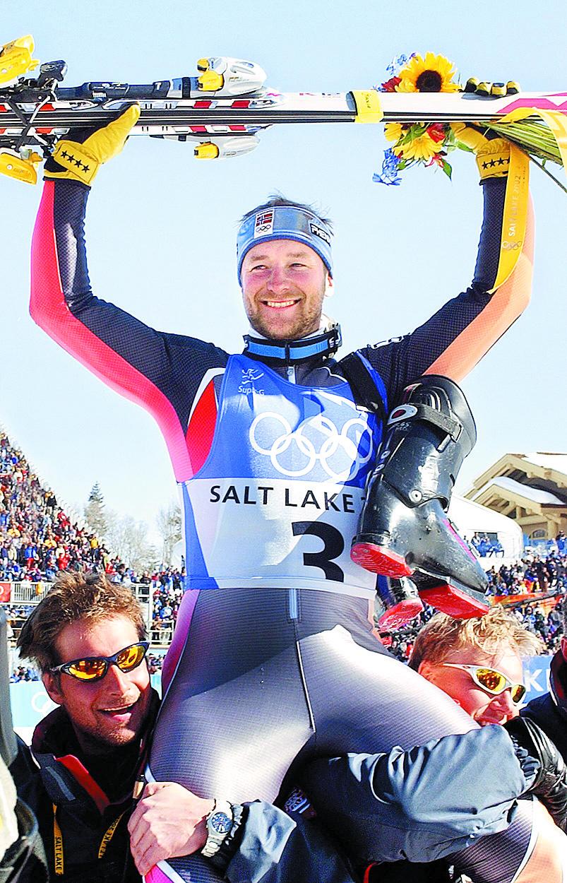 Aamodt, celebrando su victoria en el Supergigante de Salt Lake City en 2002 (Archivo 20minutos).