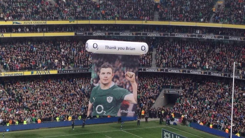 Así despidió el Aviva Stadium de Dublín a O'Driscoll en su último partido en casa con Irlanda (WIKIPEDIA).