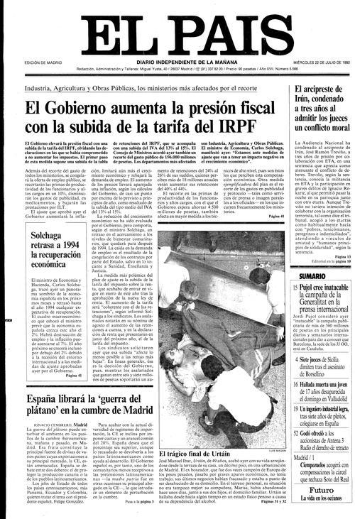 Portada del diario 'El País' del 22 de julio de 1992, con la foto de portada dedicada a Urtain (ELPAIS).