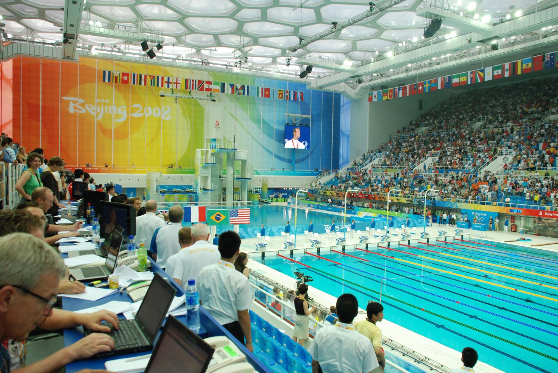 Interior del 'cubo de agua' durante los Juegos (WIKIPEDIA).