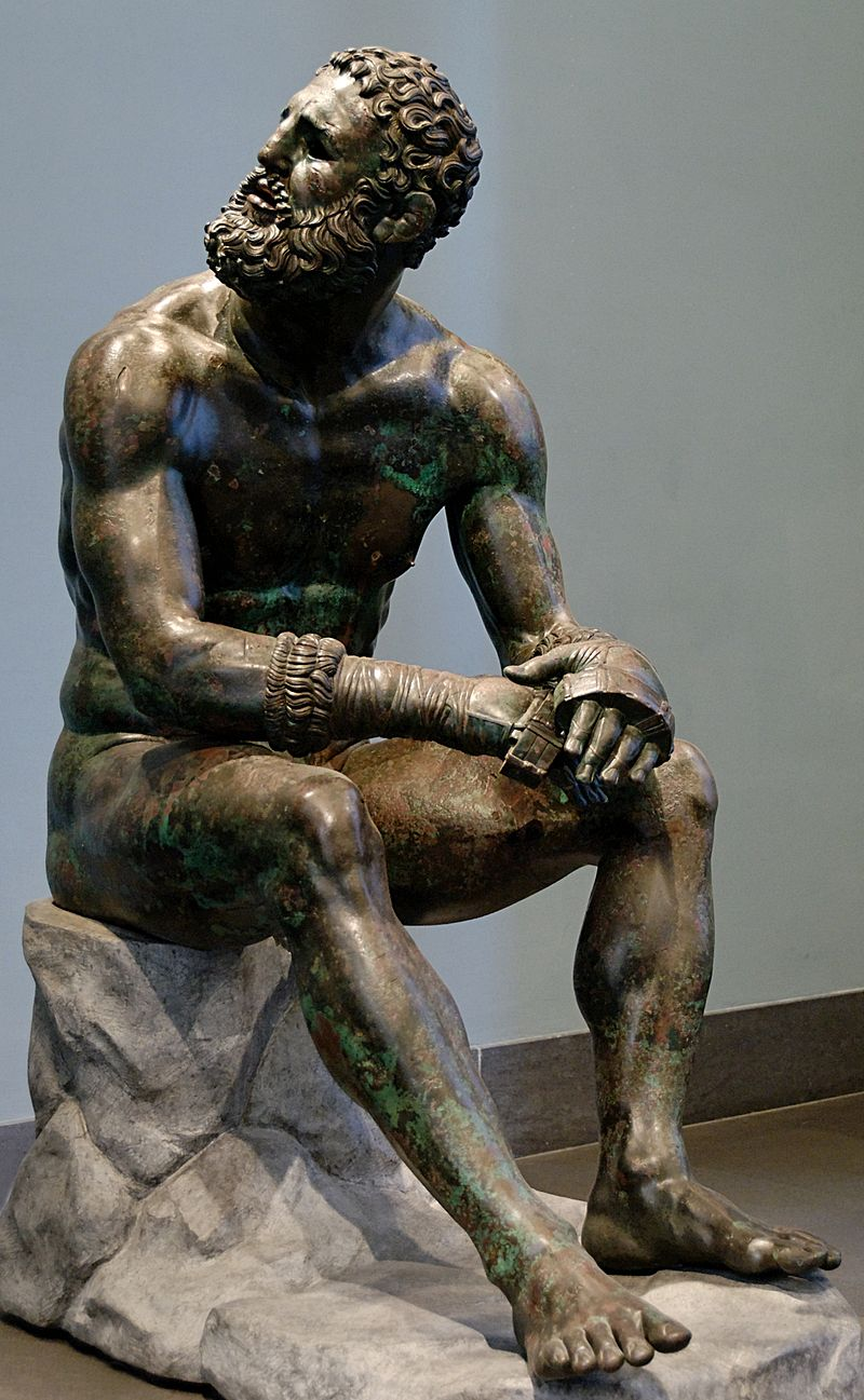 'Púgil en reposo', obra en bronce del período helenístico (s. IV A. C.) (WIKIPEDIA).