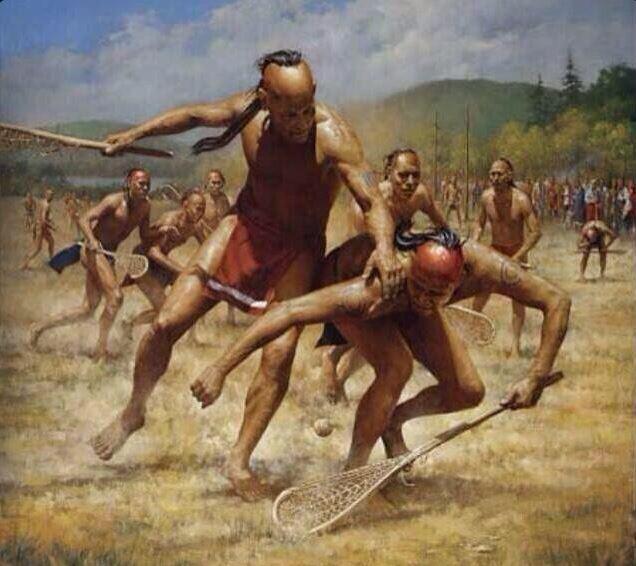 Representación de un partido de lacrosse por parte de indígenas americanos (WIKIPEDIA).