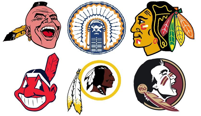 De izquierda a derecha y de arriba a abajo: Atlanta Braves (béisbol, ya en desuso); Universidad de Ilinois (ya en desuso); Chicago Blackhawks; Cleveland Indians; Washington Redskins y Florida State University (WIKIPEDIA).