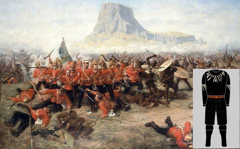 Representación de la batalla de Isandlwana (WIKIPEDIA) y recreación del uniforme de los Zulus (Historical Football Kits).