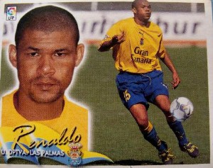 Cromo de Renaldo con la UD Las Palmas (Ed. Este).