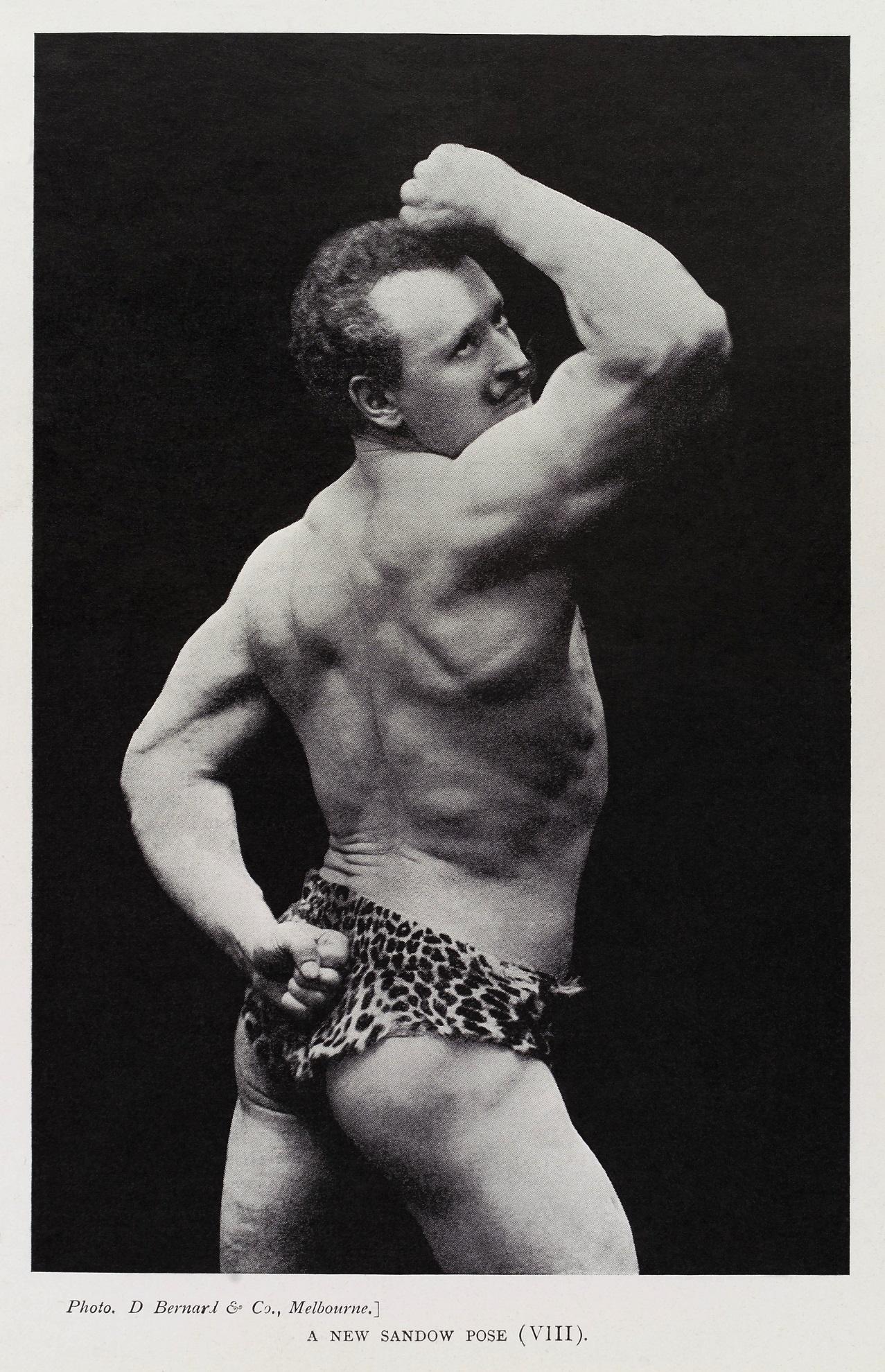 Sandow, posando para uno de sus libros, en 1902 (WIKIPEDIA).