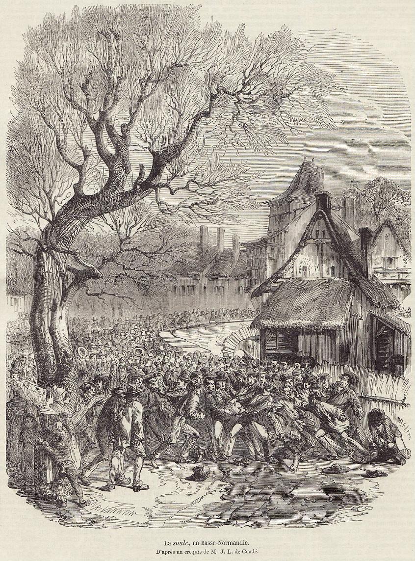 Grabado de un partido de 'soule' en 1852 en Normandía (WIKIPEDIA).