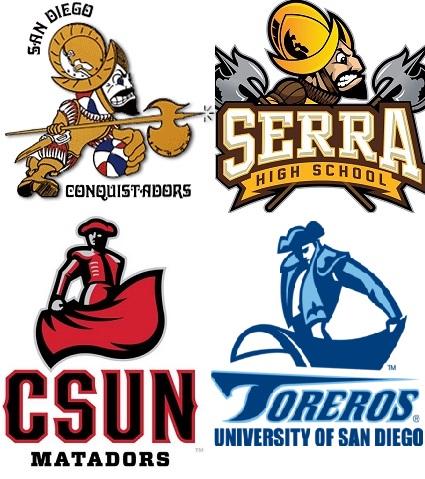 Logos de los San Diego Conquistadors, del instituto Junipero Serra, de la California State University en Northridge y de la Universidad de San Diego (WIKIPEDIA).