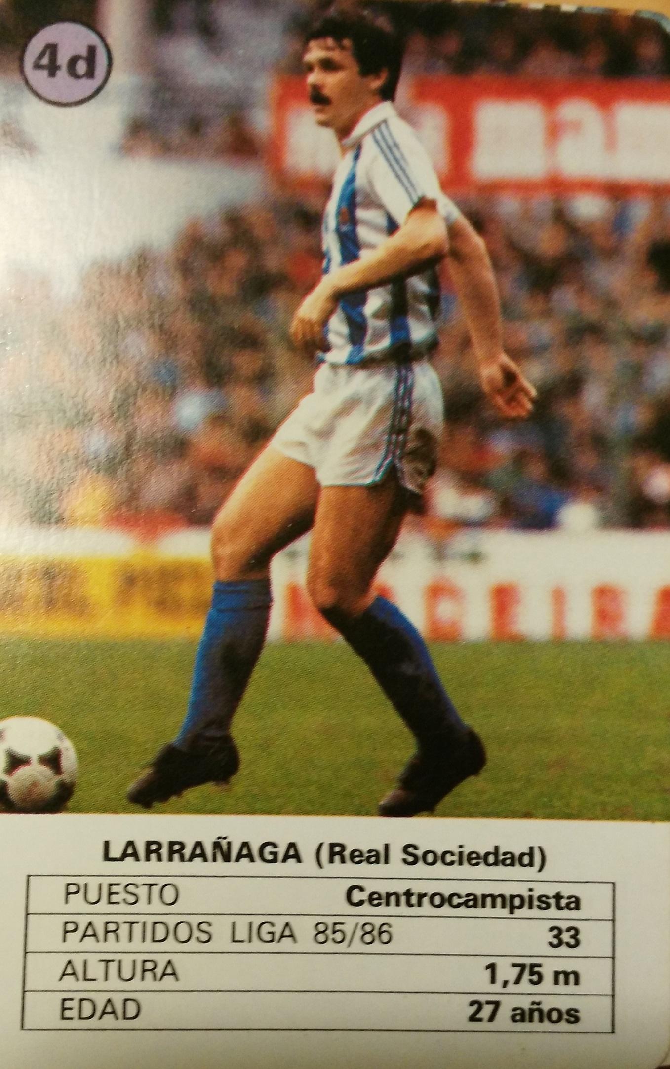 Naipe de Larrañaga correspondiente a la temporada 85/86 (Heraclio Fournier).