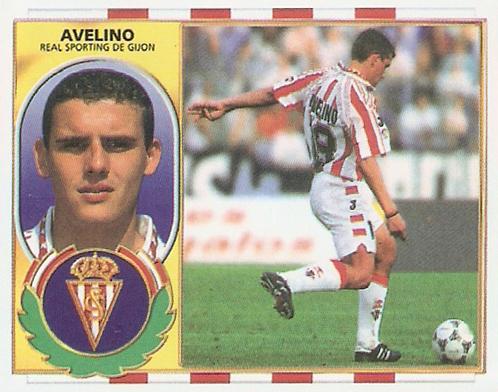Cromo de Avelino con el Sporting (Ed. Este).