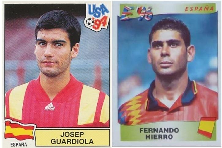 Guardiola y Hierro, con las camisetas de los períodos 1992-1993 y 1993-1995. No hagáis caso a la cita de los cromos. Las fotos son anteriores a ambas (PANINI).