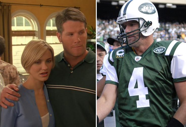 Favre, con Cameron Diaz en un fotograma de 'Algo pasa con Mary' y a la derecha, con los NY Jets (20th Century Fox / WIKIPEDIA).