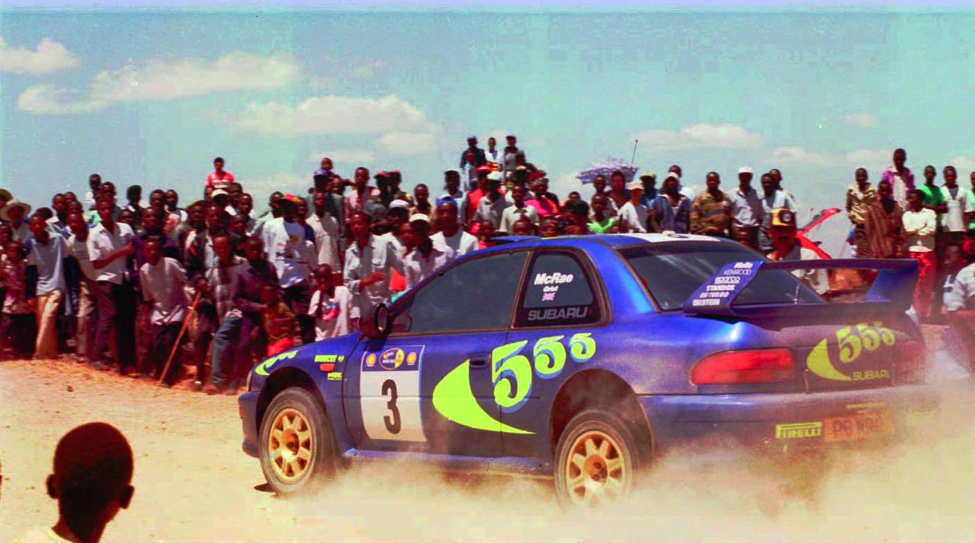 El Subaru Impreza de McRae, en el rally de Kenia (GTRES).
