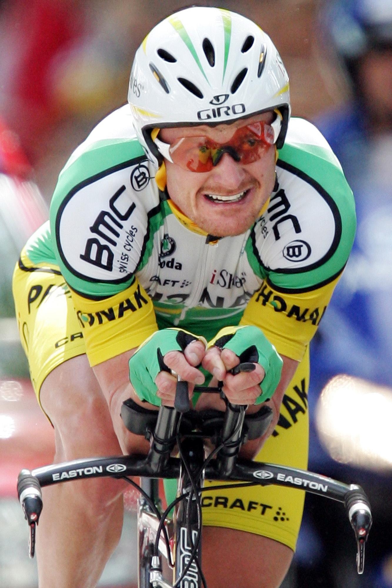 Landis, en la séptima etapa del Tour de 2006, una contrarreloj individual con final en Rennes (GTRES).