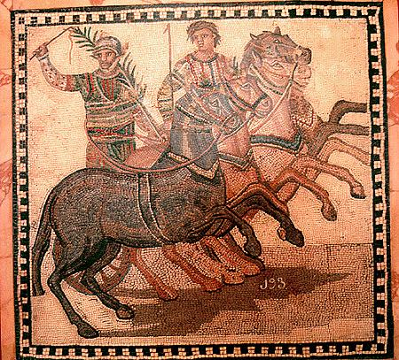 Mosaico romano representando una cuádriga (WIKIPEDIA).