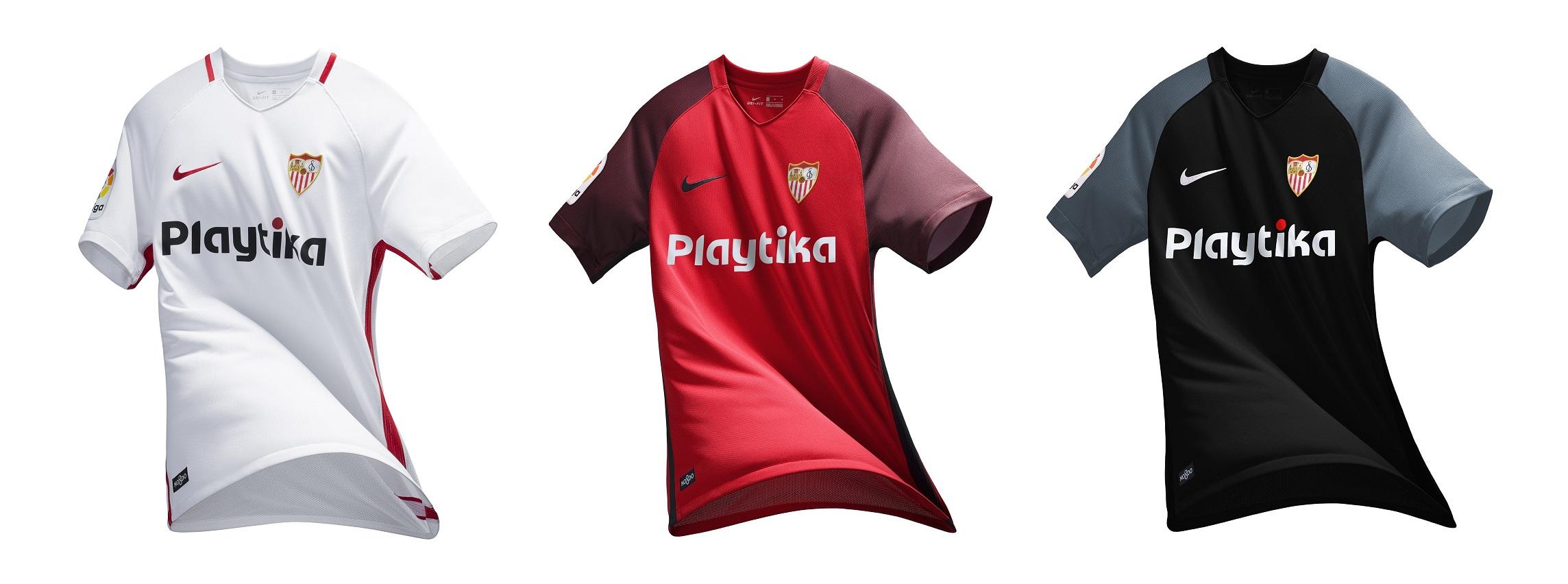 Las tres equipaciones del Sevilla (SFC). f1750989acd5a