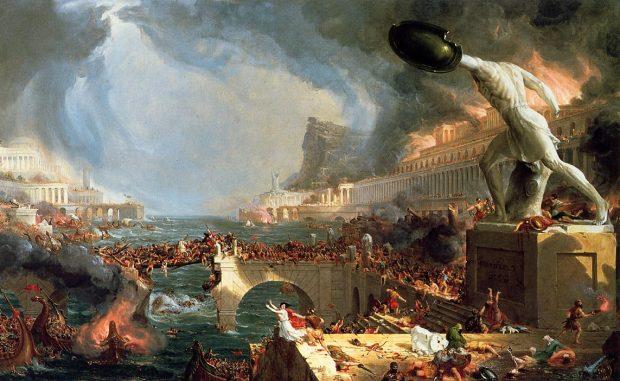"""""""El curso del Imperio: Destrucción"""". Thomas Cole (1836)"""