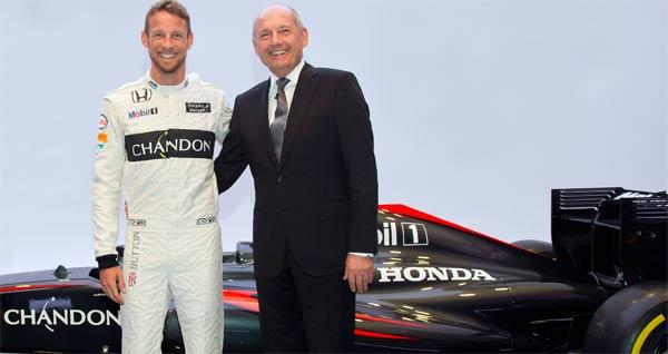 Jenson Button, Ron Dennis y el nuevo patrocinador, Chandon (Foto: McLaren).