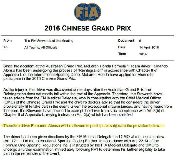Informe de la FIA en el que declara a Fernando Alonso apto para el GP de China, provisionalmente.